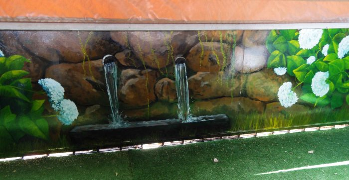 Murales y trampantojos en exteriores jardines y piscinas for Jardines murales